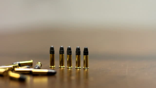 Gun and bullets. Weapon. video