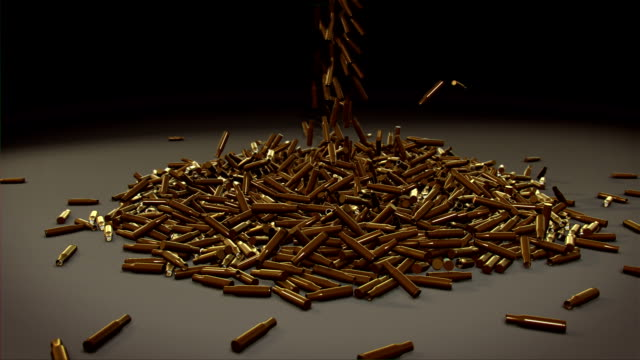 Gun bullet shells falling video