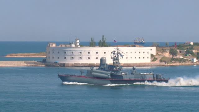 gunboat in the bay of Sevastopol video