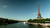 Gustave Eiffel tower by the seine with ships video