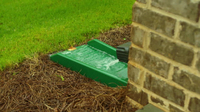 Gutter Down Spout Close Up Rain Water Pouring video