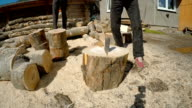 Guy chopping low with wood splitter video