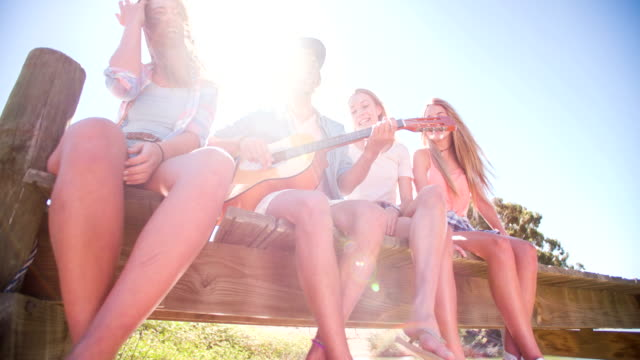 Guy playing guitar for a group of teen girls outdoors video