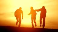 Guys Jumping Joy Happiness Sunset Silhouette Summer Soccer video