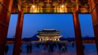 Gyeongbokgung Palace at night, Seoul, South Korea, HD Time lapse video