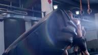 gym man flipping tire video