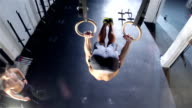 gym. Working out with rings video