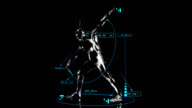 3D gymnast man with technical data video