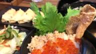 Gyoza set with salmon fried rice , Bangkok , Thailand. video