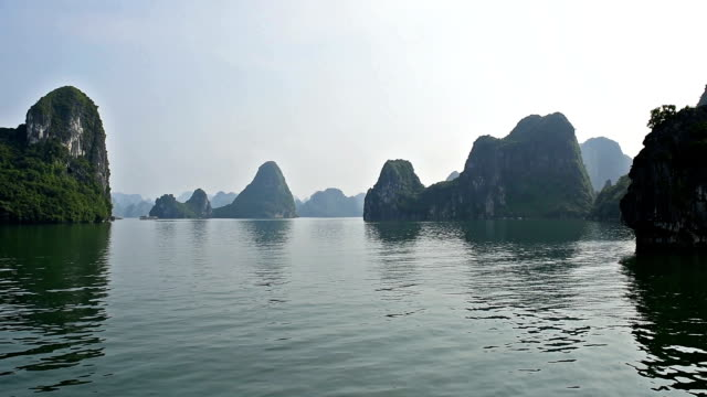 Ha Long Bay (Descending Dragon Bay), Vietnam, UNESCO World Heritage Site, Tour Boats (point of view) Spectacular Vietnamese Islands, Trip Dhow Ship, Beautiful Landscape Marine video