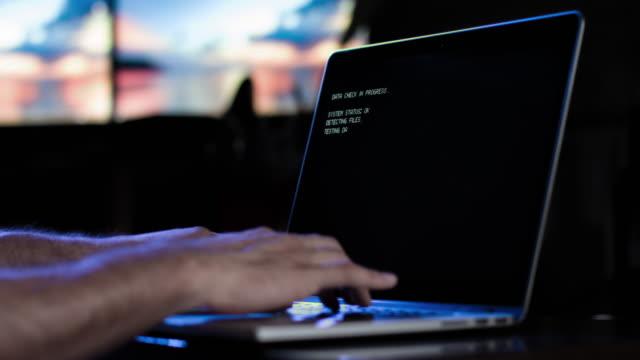 Hacker or Man Typing Keyboard Data Code On Screen video