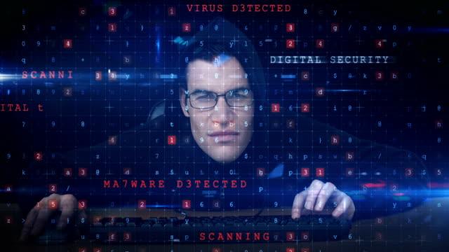 Hacker using computer video
