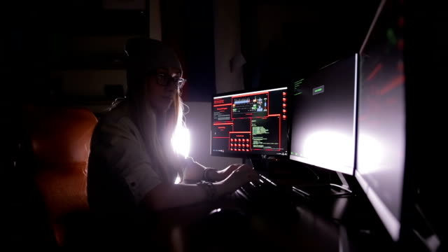 Hacker woman working. Computer security concept video