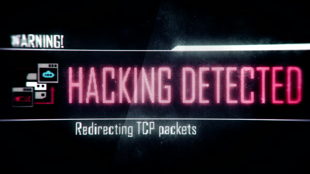 Hacking detected, warning screen text, system message, notification video