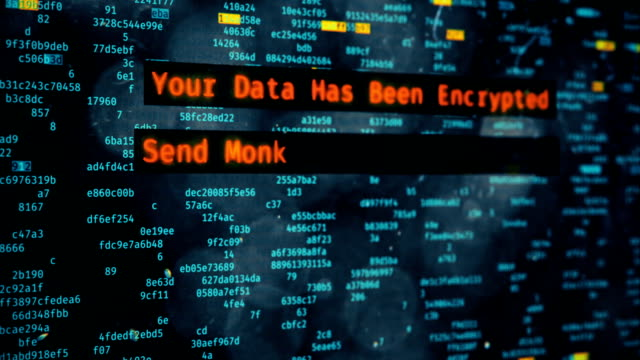 Hacking message demanding money on computer screen, data encryption, cyberattack video