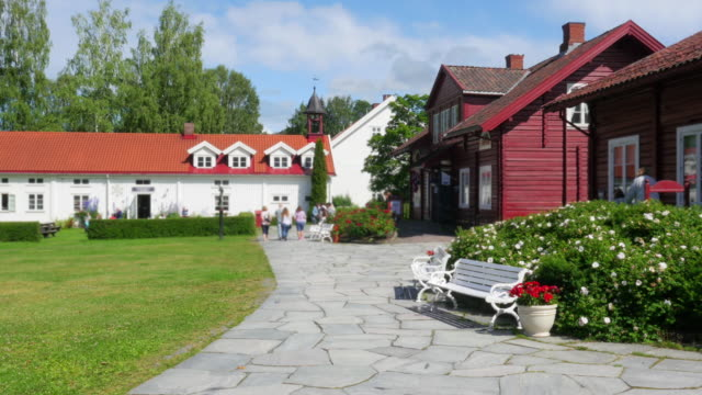 Hadeland central square, norwegian town view video