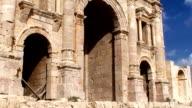 Hadrian's Arch of Triumph in Jerash, Jordan video