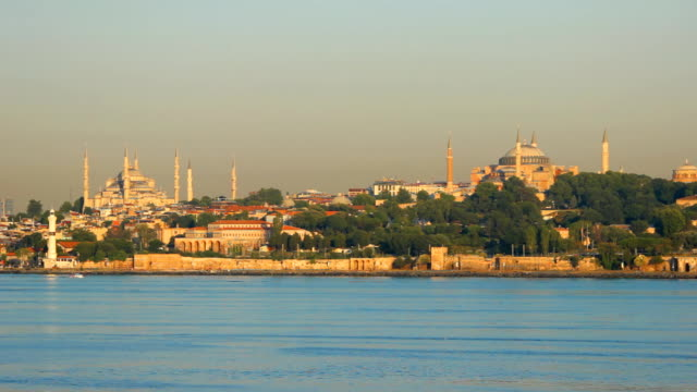 Hagia Sophia and Blue Mosque in Istanbul above Bosphorus video