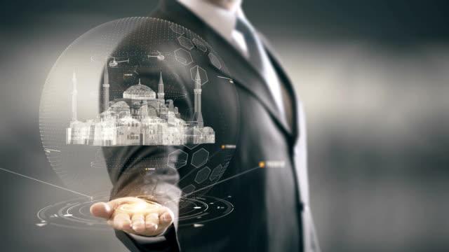 Hagia Sophia Turkey Businessman holding in Hand Landmark New technologies video