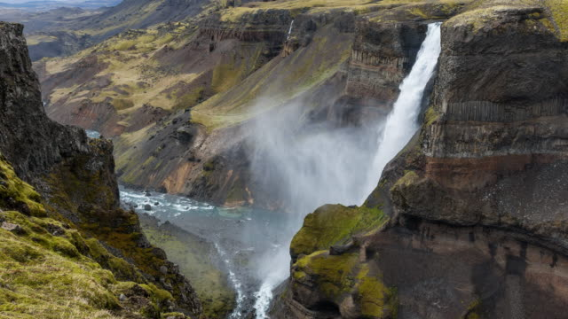 Haifoss waterfall on the edge of highlands video