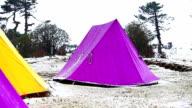 Hailstorm and camping tent at Kangchenjunga National Park video