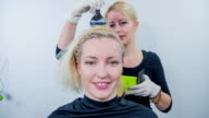 Hair dresser starts colouring the back of the haed video