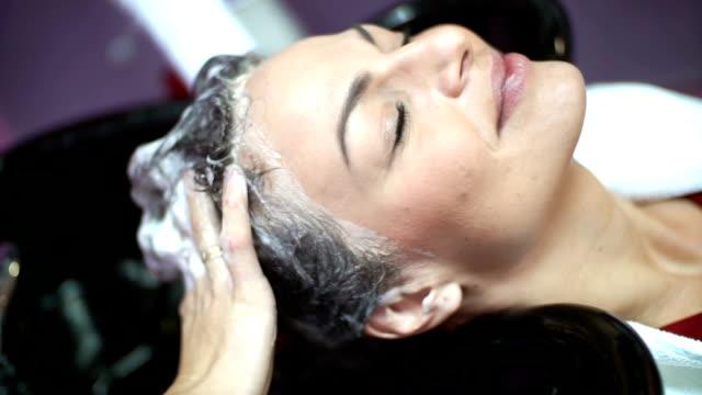Hair washing at a salon. video