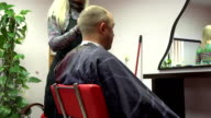 hairdresser woman cut male client in beauty salon barber. FullHD video