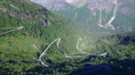 Hairpin curves on mountain road in Norway video