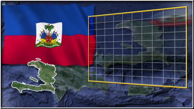 Haiti flag and map animation video