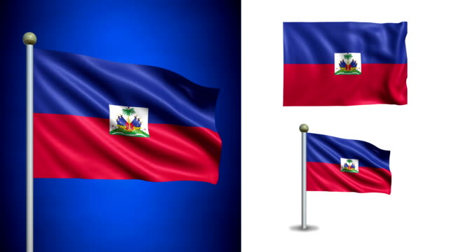 Haiti flag - with Alpha channel, seamless loop! video