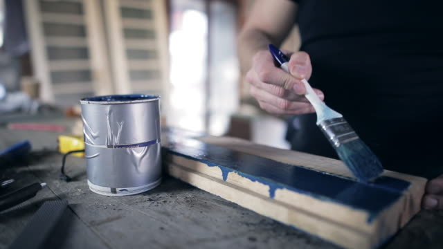 Half painted wooden boards video