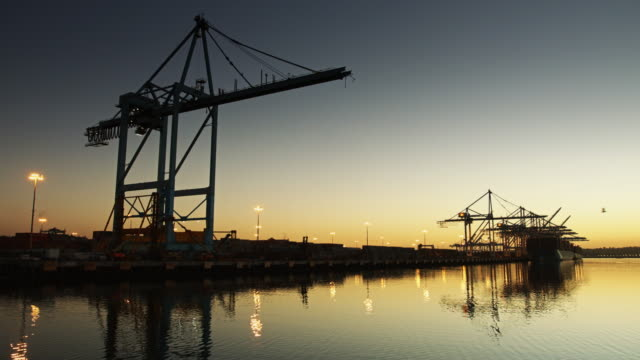 Half-Silhouetted Container Crane at the Port of LA video