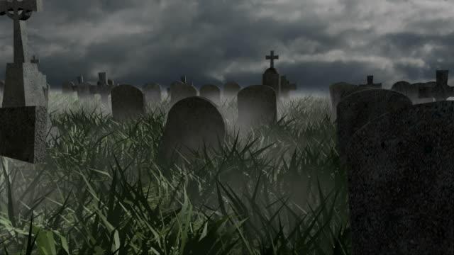 Halloween Graveyard stormy day video