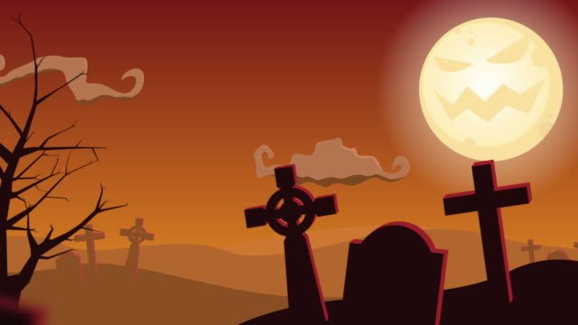 halloween graveyard tree animated background video - Halloween Background Video