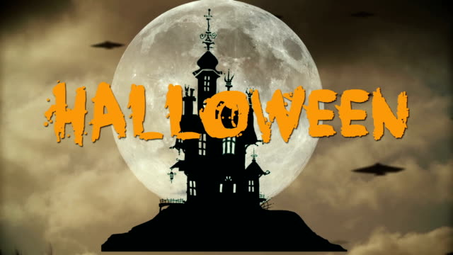 Halloween night background with haunted house video