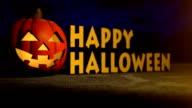 Halloween pumpkin, creepy holiday background video
