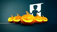 Halloween Pumpkin with boy open the door in background video