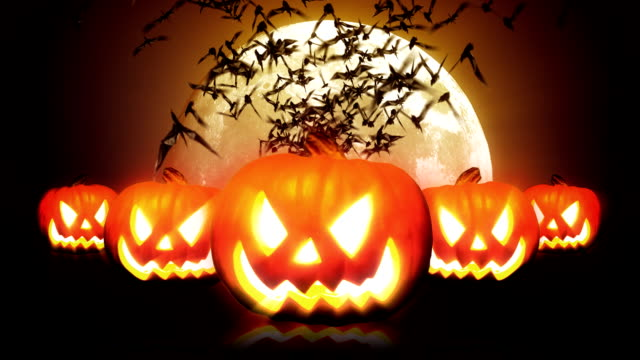 Halloween Pumpkins and Bats HD video