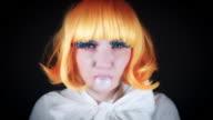 4K Halloween Shot of Doll Make-up Woman with Bubblegum video