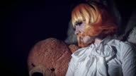 4K Halloween Shot of Doll Woman Turning Scary, color graded video