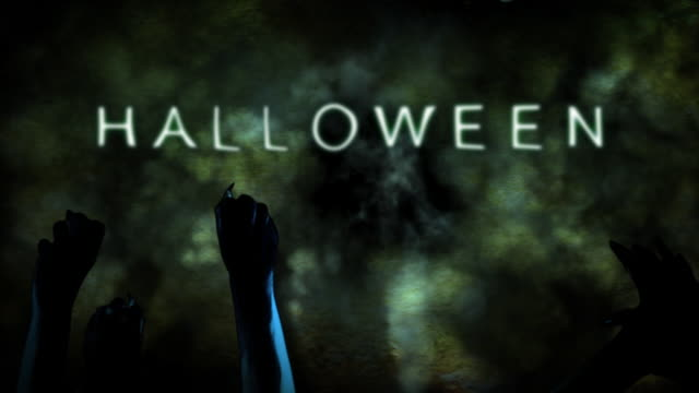 halloween title with creepy zombie hands HD video