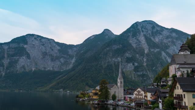 Hallstatt mountain village in autumn with Lake Hallstatt video
