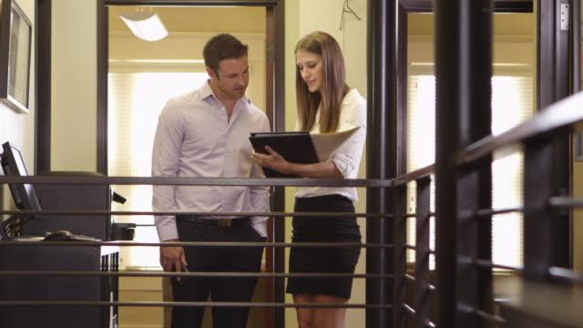 Hallway meeting. video