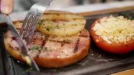 Ham steak with pineapple and tomato video
