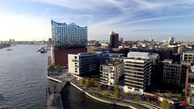 Hamburg Elbphilharmonie and Hafencity Aerial View video