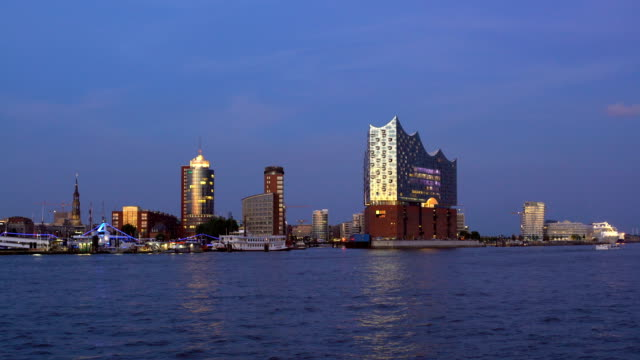 Hamburg Skyline with Elbe River at sunset video