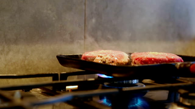 Hamburgers being cooked - Cinemagraph video