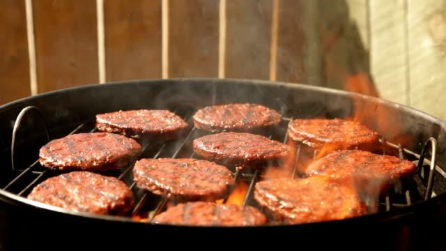 Hamburgers on a Charcoal BBQ video