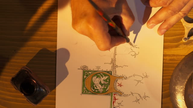HD: Hand Carefully Drawing Calligraphy Ornate video